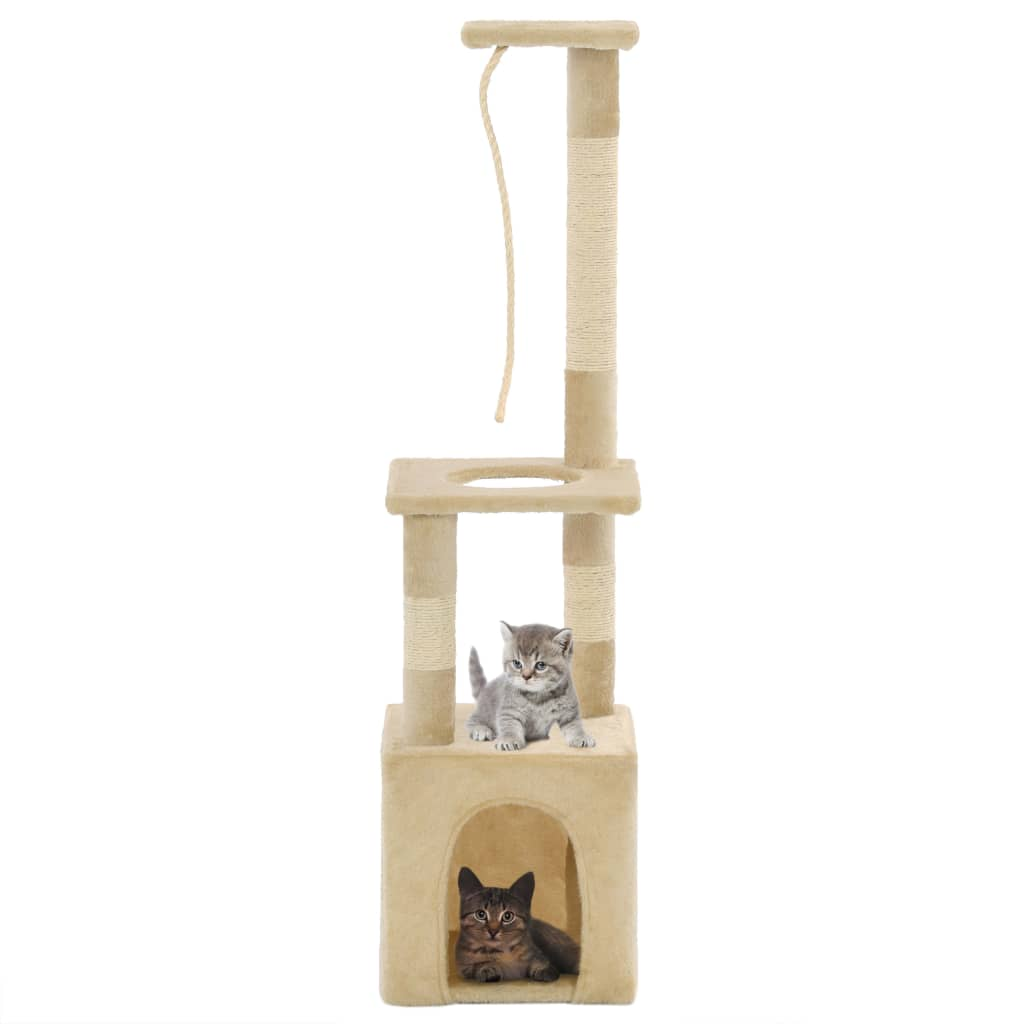 Škrabadlo pro kočky se sisalovými sloupky 109 cm béžové
