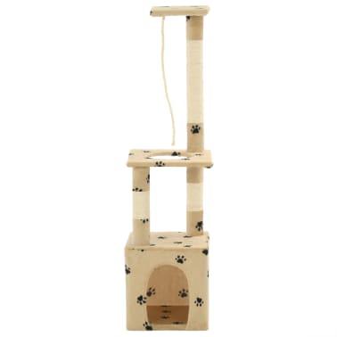 vidaXL Rascador para gatos con postes de sisal 109 cm huellas beige[2/7]