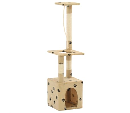 vidaXL Rascador para gatos con postes de sisal 109 cm huellas beige[3/7]
