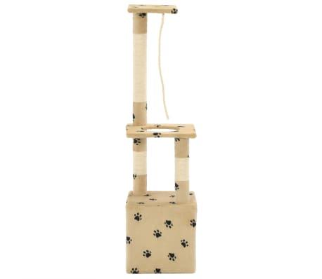 vidaXL Rascador para gatos con postes de sisal 109 cm huellas beige[4/7]