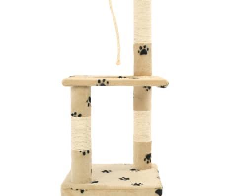 vidaXL Rascador para gatos con postes de sisal 109 cm huellas beige[6/7]