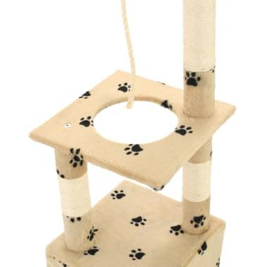 vidaXL Rascador para gatos con postes de sisal 109 cm huellas beige[5/7]