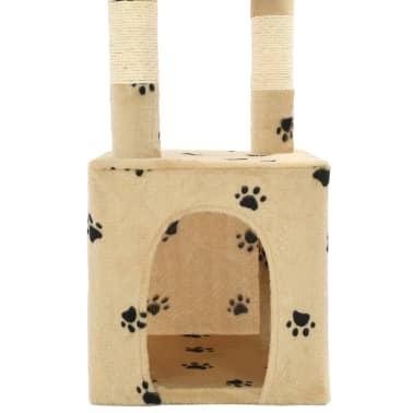 vidaXL Rascador para gatos con postes de sisal 109 cm huellas beige[7/7]