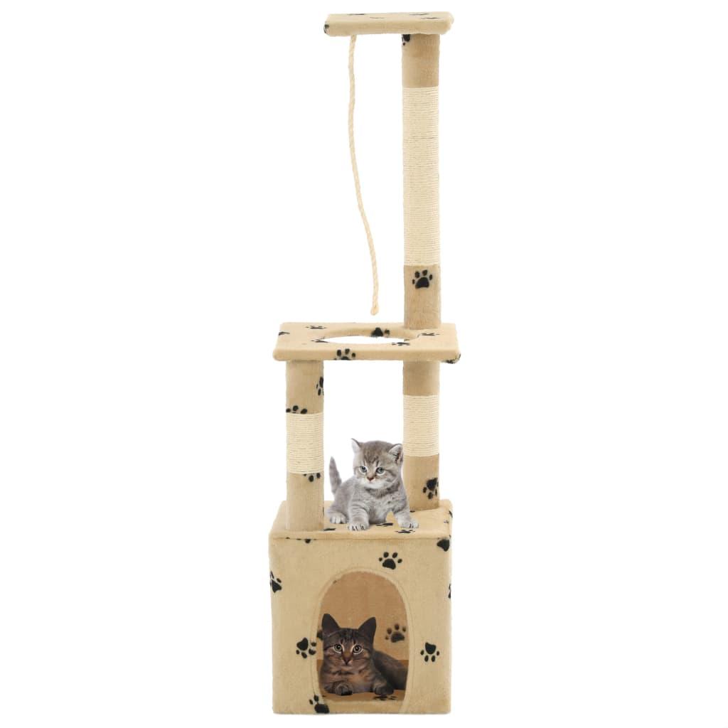 vidaXL Ansamblu pisici, stâlpi funie sisal 109 cm imprimeu lăbuțe, bej poza vidaxl.ro