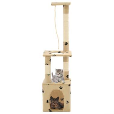 vidaXL Rascador para gatos con postes de sisal 109 cm huellas beige[1/7]