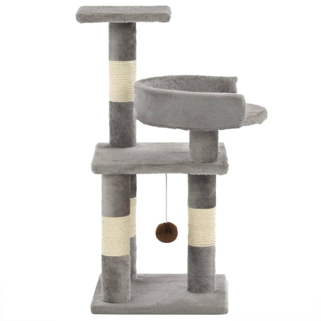 vidaXL Škrabadlo pro kočky se sisalovými sloupky 65 cm šedé
