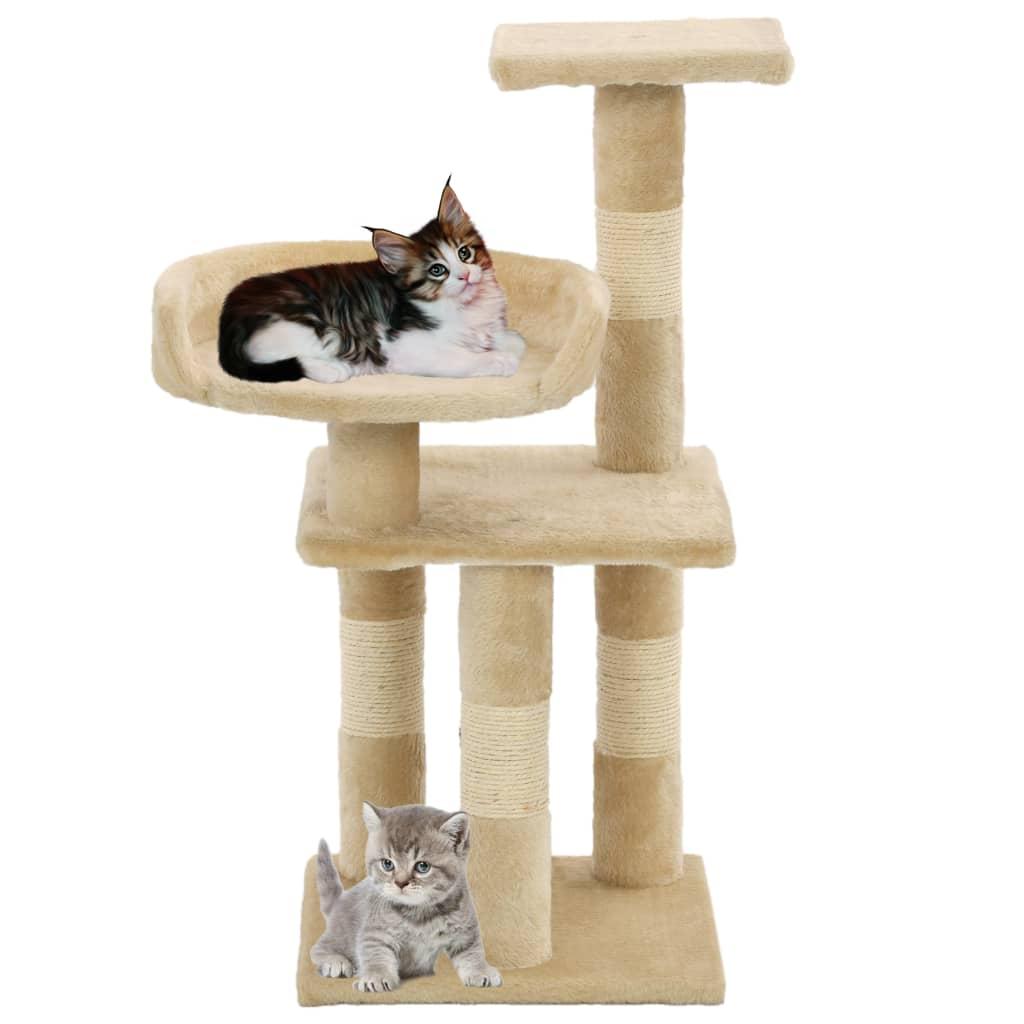 vidaXL Škrabadlo pro kočky se sisalovými sloupky 65 cm béžové