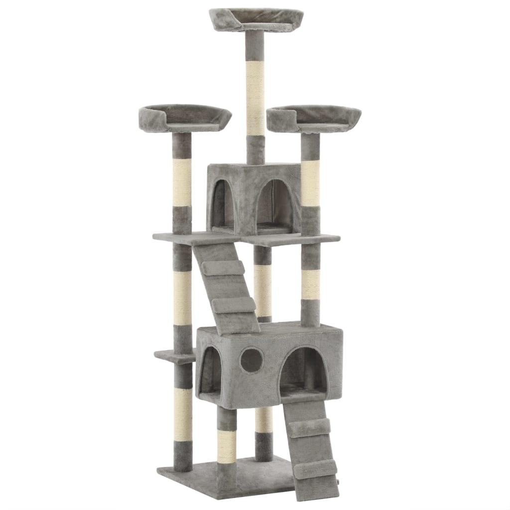 vidaXL Škrabadlo pro kočky se sisalovými sloupky 170 cm šedé