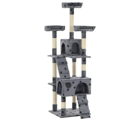 vidaXL szürke, mancsmintás macskabútor szizál kaparófákkal 170 cm[2/7]