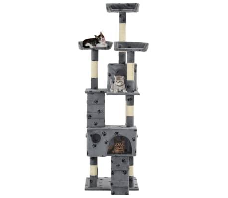 vidaXL szürke, mancsmintás macskabútor szizál kaparófákkal 170 cm[3/7]