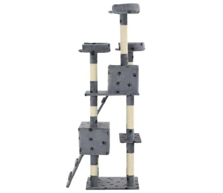 vidaXL Mačje drevo s praskalniki iz sisala 170 cm s tačkami sive barve[5/7]