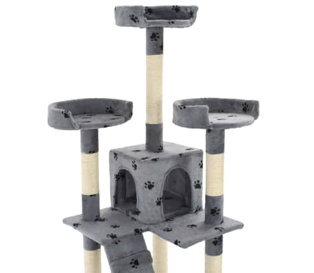 vidaXL szürke, mancsmintás macskabútor szizál kaparófákkal 170 cm[6/7]