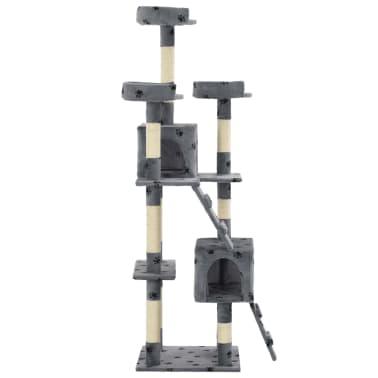 vidaXL szürke, mancsmintás macskabútor szizál kaparófákkal 170 cm[4/7]