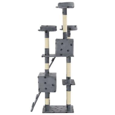 vidaXL szürke, mancsmintás macskabútor szizál kaparófákkal 170 cm[5/7]