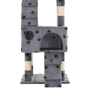 vidaXL szürke, mancsmintás macskabútor szizál kaparófákkal 170 cm[7/7]