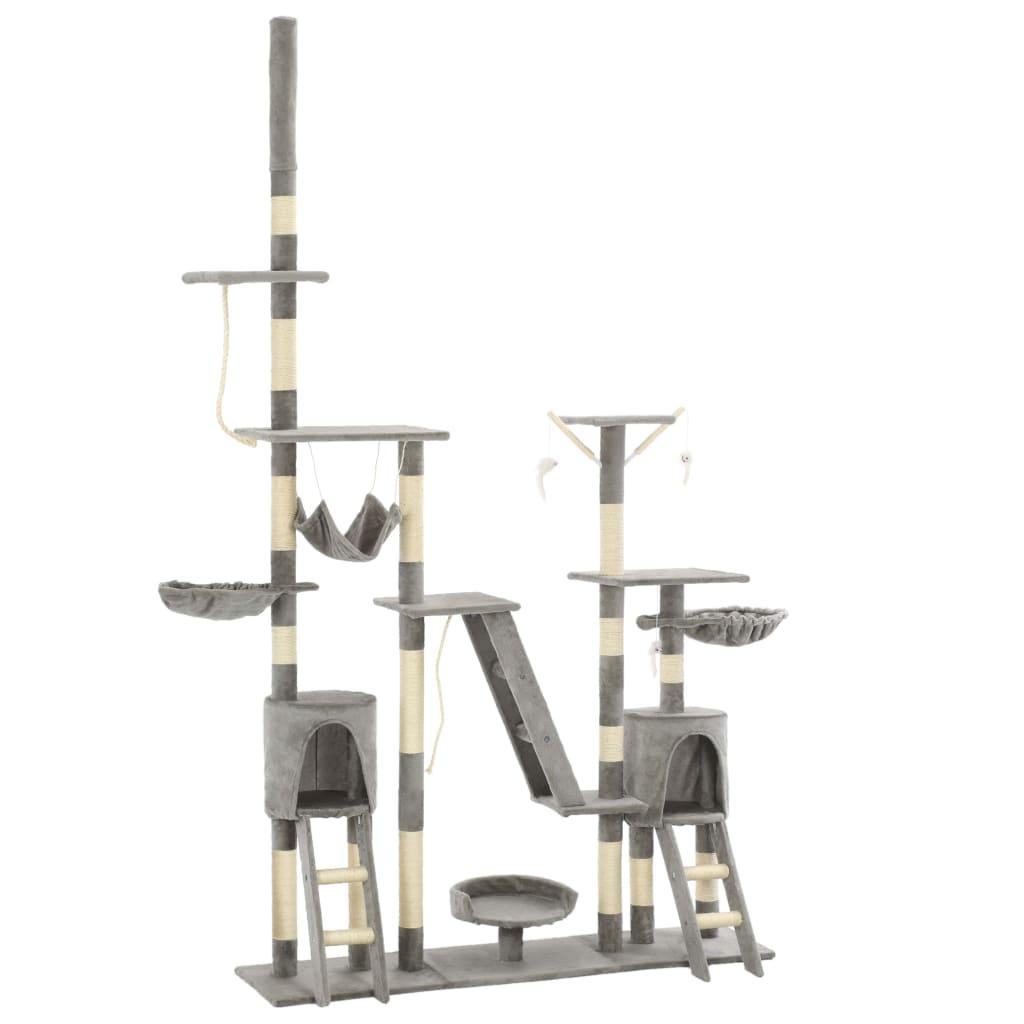 vidaXL Ansamblu pentru pisici, stâlpi din funie sisal, 230-250 cm, gri poza 2021 vidaXL