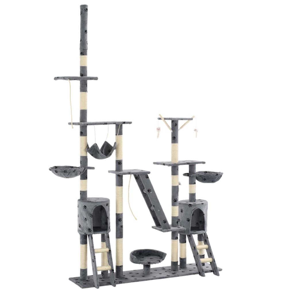 vidaXL Ansamblu pisici cu funie sisal, 230-250cm, imprimeu lăbuțe, gri poza 2021 vidaXL