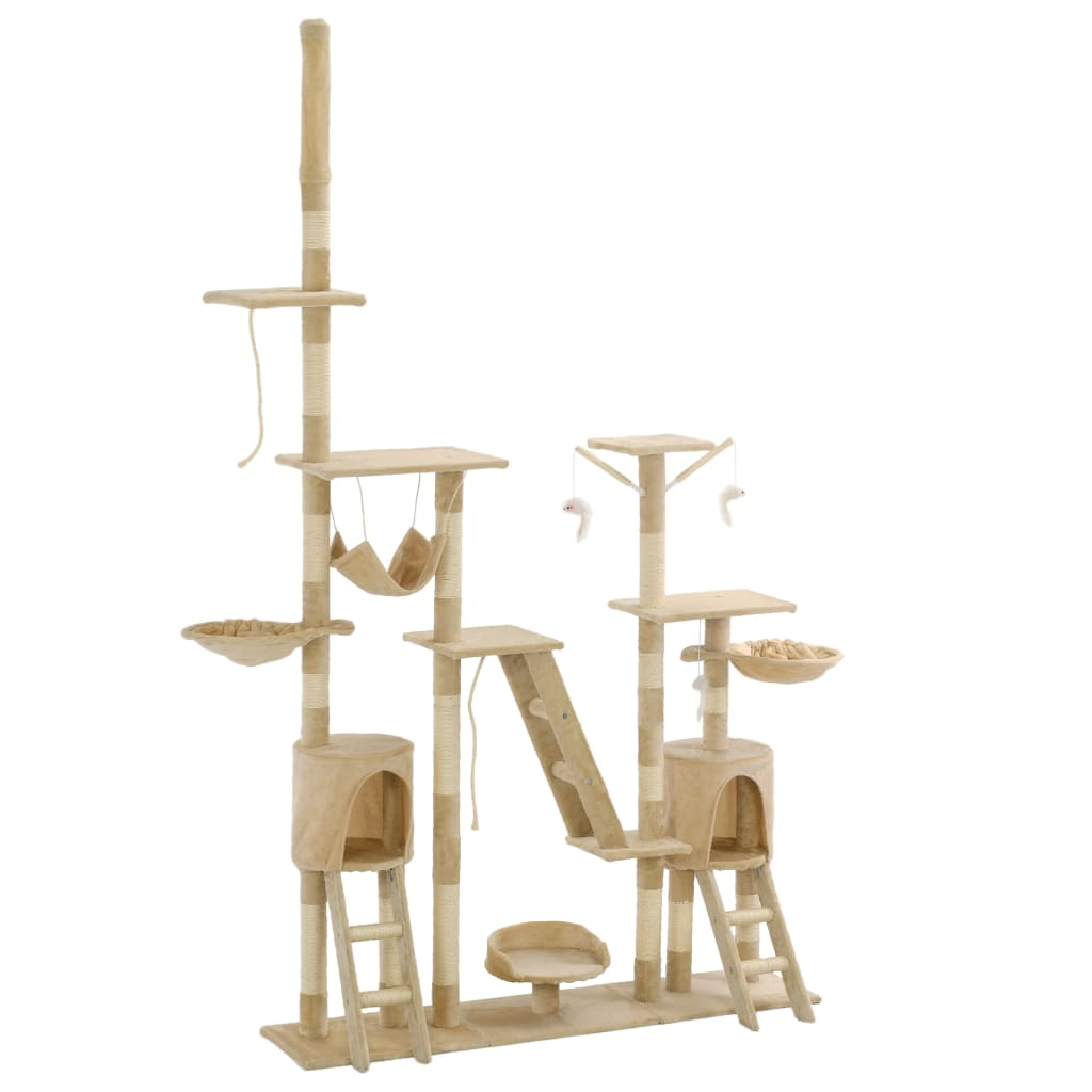 vidaXL Ansamblu pentru pisici stâlpi din funie de sisal 230-250 cm bej vidaxl.ro