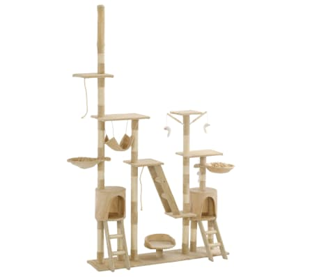 Give your feline friends a taste of luxury with our feature-packed cat tree! This multi-storey cats' play centre, with a solid frame covered in soft, comfortable plush, is the perfect retreat for your cats to scratch, climb, perch, hide, and rest.