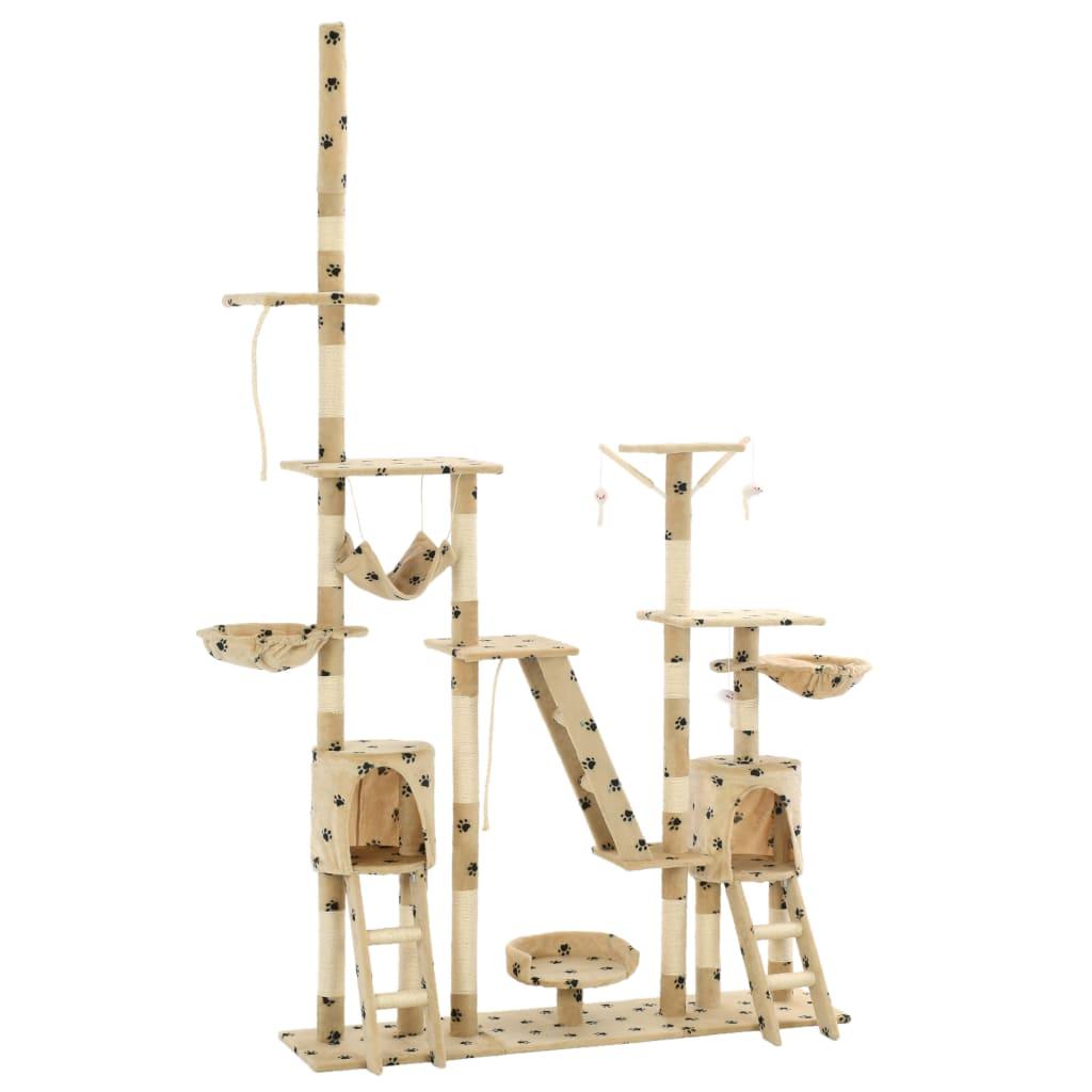 vidaXL Ansamblu pisici cu funie sisal, 230-250 cm imprimeu lăbuțe, bej poza vidaxl.ro
