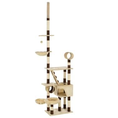 vidaXL Cat Tree with Sisal Scratching Posts 246-280 cm Beige and Brown[1/13]