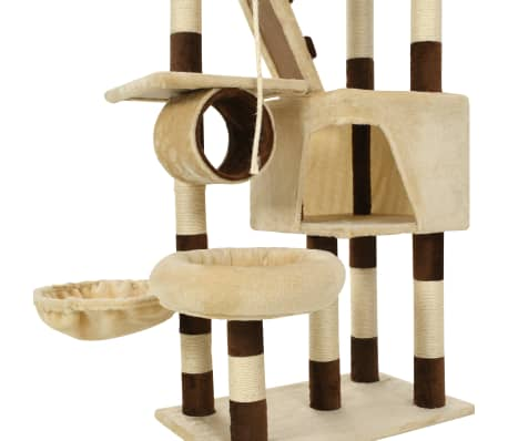 vidaXL Cat Tree with Sisal Scratching Posts 246-280 cm Beige and Brown[7/13]