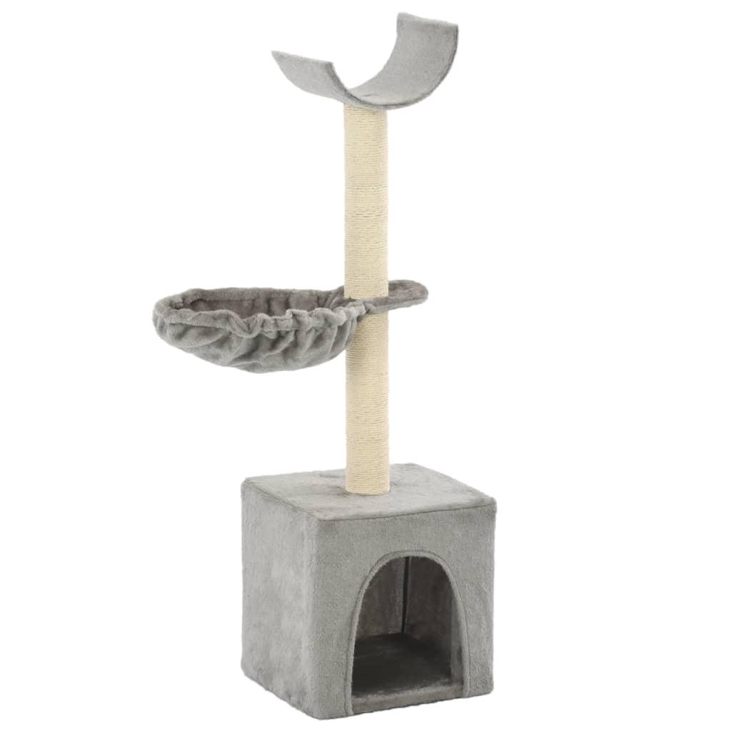 Škrabadlo pro kočky se sisalovými sloupky 105 cm šedé