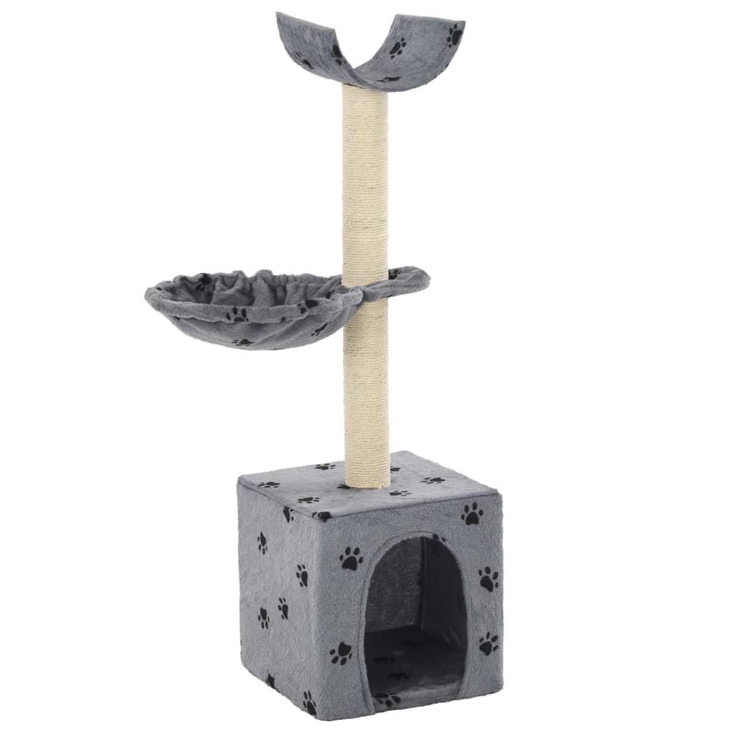 Škrabadlo pro kočky se sisalovými sloupky 105cm šedé s tlapkami