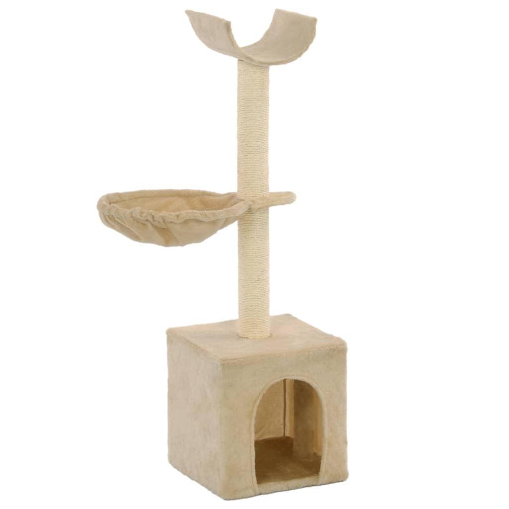 vidaXL Škrabadlo pro kočky se sisalovými sloupky 105 cm béžové