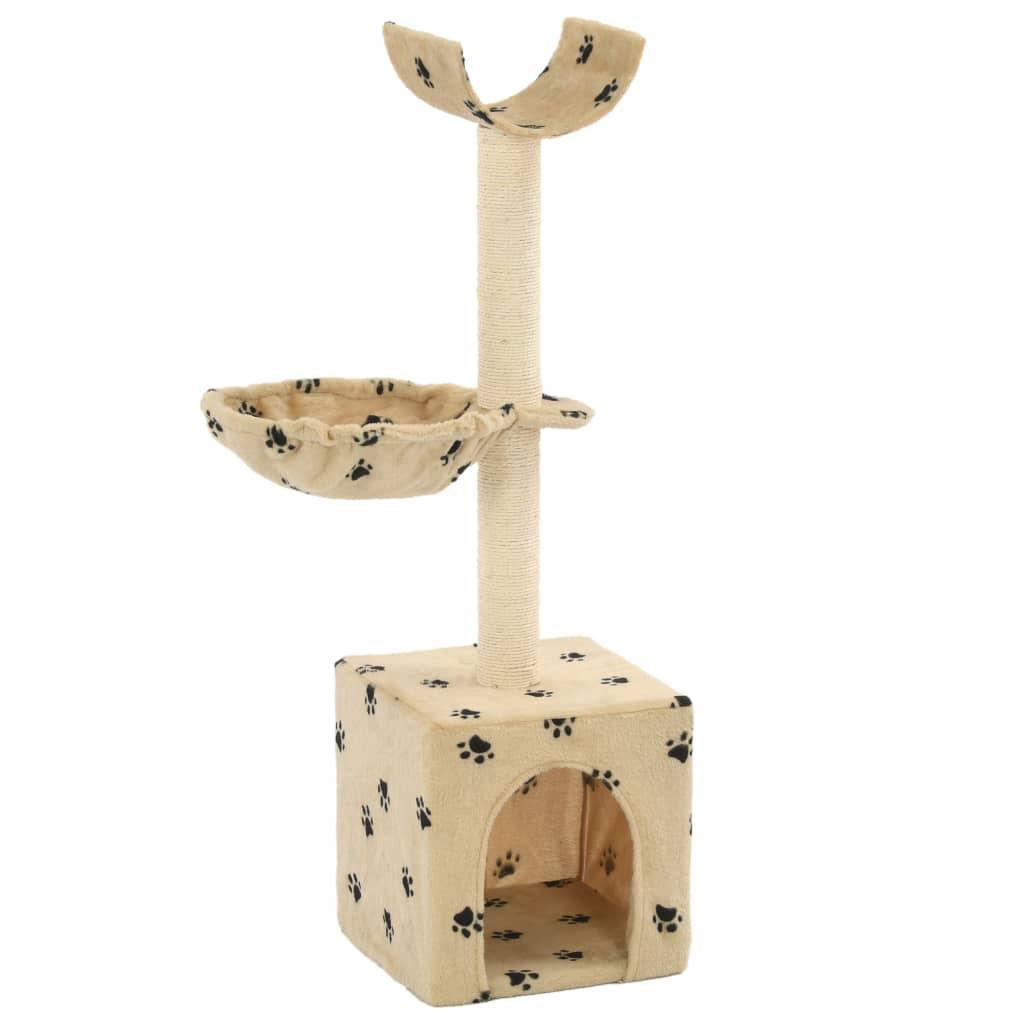 Škrabadlo pro kočky sisalové sloupky 105 cm béžové s tlapkami