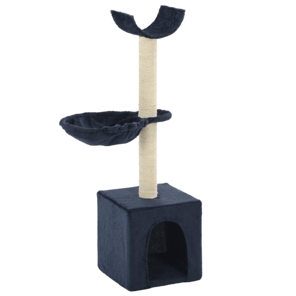 Škrabadlo pro kočky se sisalovými sloupky 105 cm modré