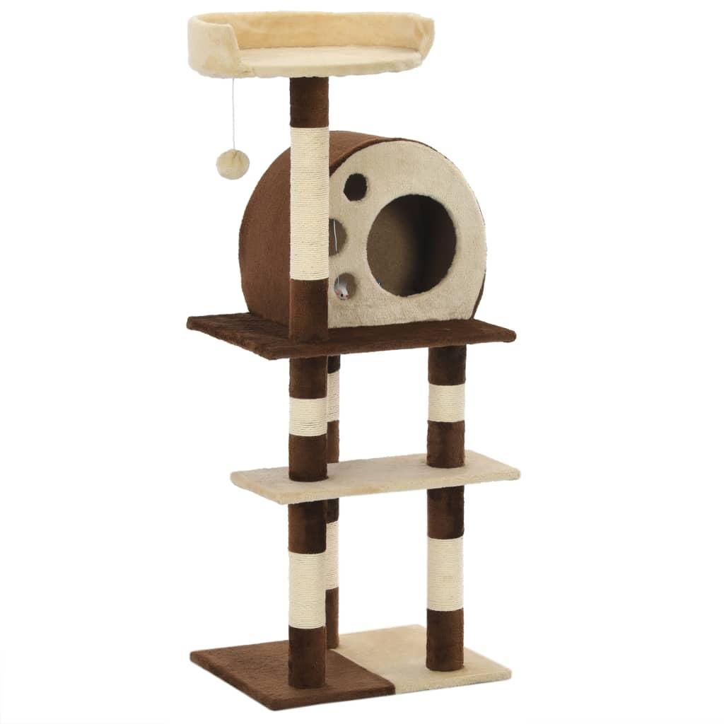 vidaXL Ansamblu de joacă pisici, stâlpi din sisal, bej și maro, 127 cm poza 2021 vidaXL