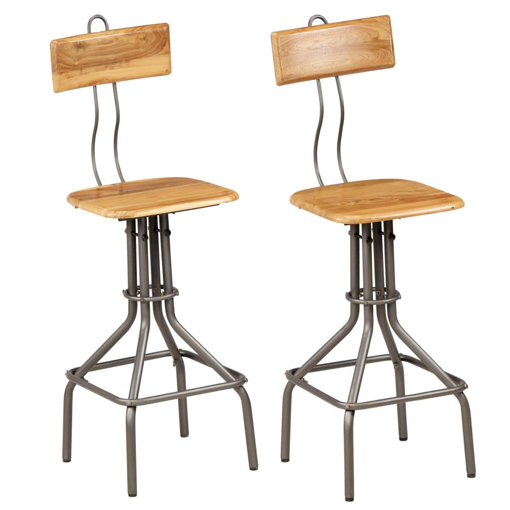 vidaXL Krzesła barowe, 2 szt., lite drewno tekowe z odzysku