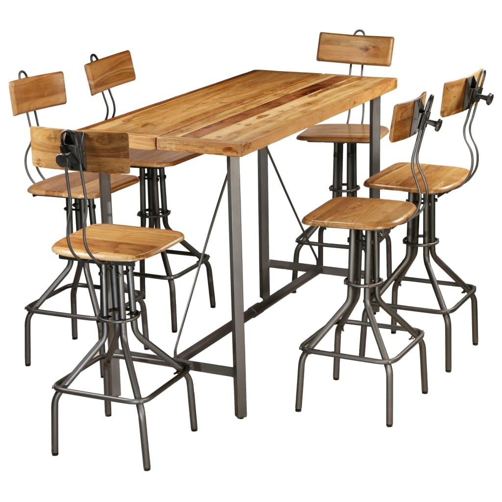 vidaXL Set de bar, 7 piese, lemn masiv de tec reciclat poza vidaxl.ro