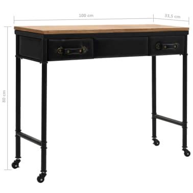 vidaXL Konsolinis staliukas, MDF ir eglės mediena, 100x33,5x80cm[8/8]