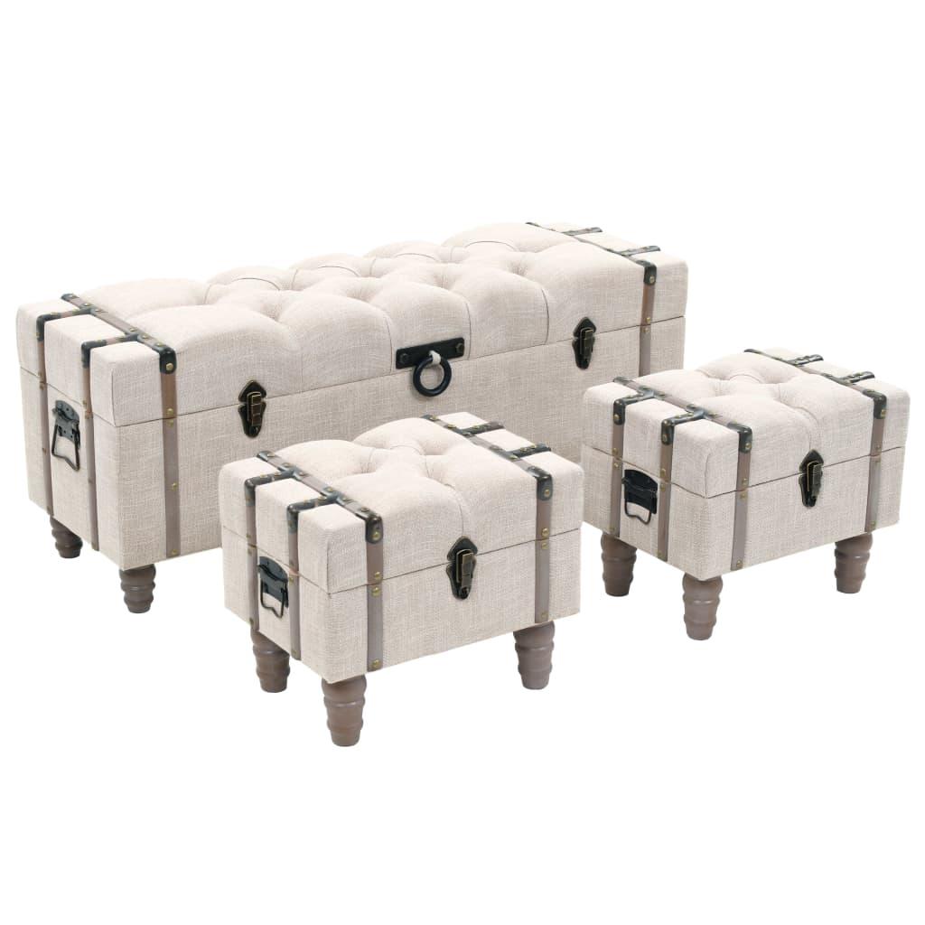 vidaXL Sada úložných lavic 3 kusy masivní dřevo a ocel 112x37x45 cm