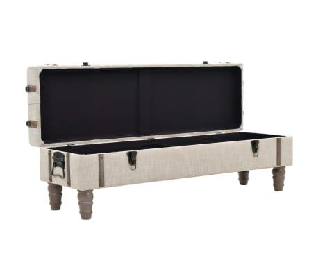 vidaXL Suoliukas-daiktadėžė, masyvi mediena ir plienas, 111x34x37cm[5/10]