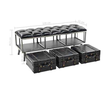 vidaXL Suoliukas-daiktadėžė, MDF ir dirbtinė oda, 120x41x46,5cm[11/11]