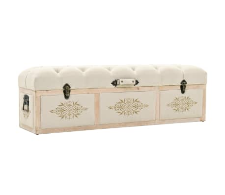 vidaXL Storage Bench Solid Wood and Fabric 120x32x38 cm[1/8]