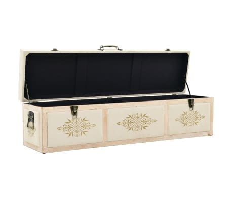 vidaXL Storage Bench Solid Wood and Fabric 120x32x38 cm[5/8]