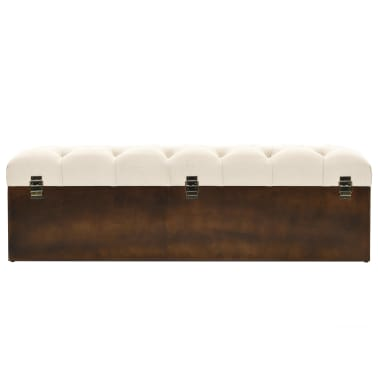 vidaXL Storage Bench Solid Wood and Fabric 120x32x38 cm[4/8]