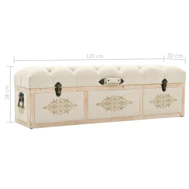vidaXL Storage Bench Solid Wood and Fabric 120x32x38 cm[8/8]