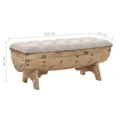 vidaXL Klupa za pohranu od masivnog drva i tkanine 103 x 51 x 44 cm[8/8]