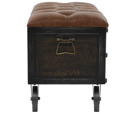vidaXL Klupa za pohranu od masivnog drva i umjetne kože 80,5 x 41 x 50 cm[3/10]