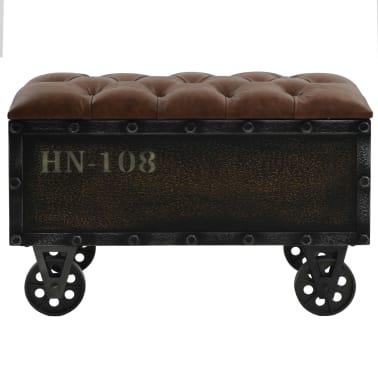 vidaXL Klupa za pohranu od masivnog drva i umjetne kože 80,5 x 41 x 50 cm[2/10]