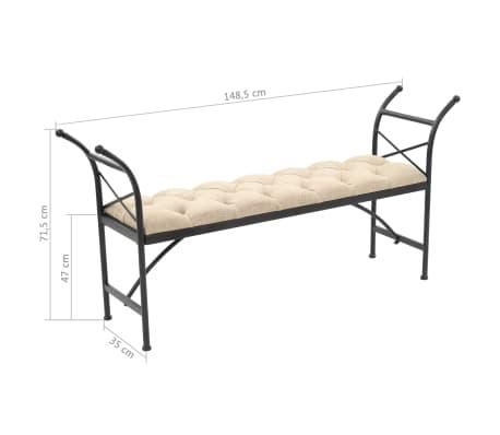 vidaXL Sitzbank mit Stoffpolsterung 148,5 × 35 × 71,5 cm[7/7]