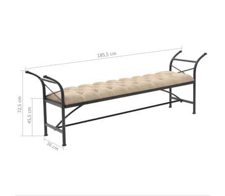vidaXL Sitzbank mit Stoffpolsterung 185,5 × 36 × 72,5 cm[7/7]