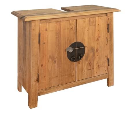 Vidaxl madera pino maciza mueble ba o 70x32x63 cm armario for Bajo gabinete tocador bano de madera