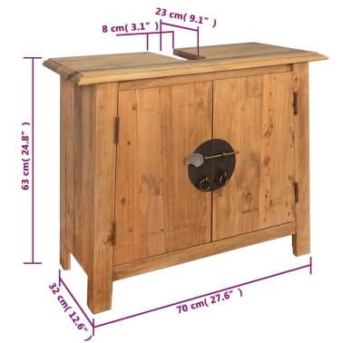 vidaXL Meuble-lavabo de salle de bains pin massif recyclé 70x32x63 cm[9/9]