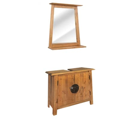vidaXL Vonios kambario baldų komplektas, perdirbta pušies mediena